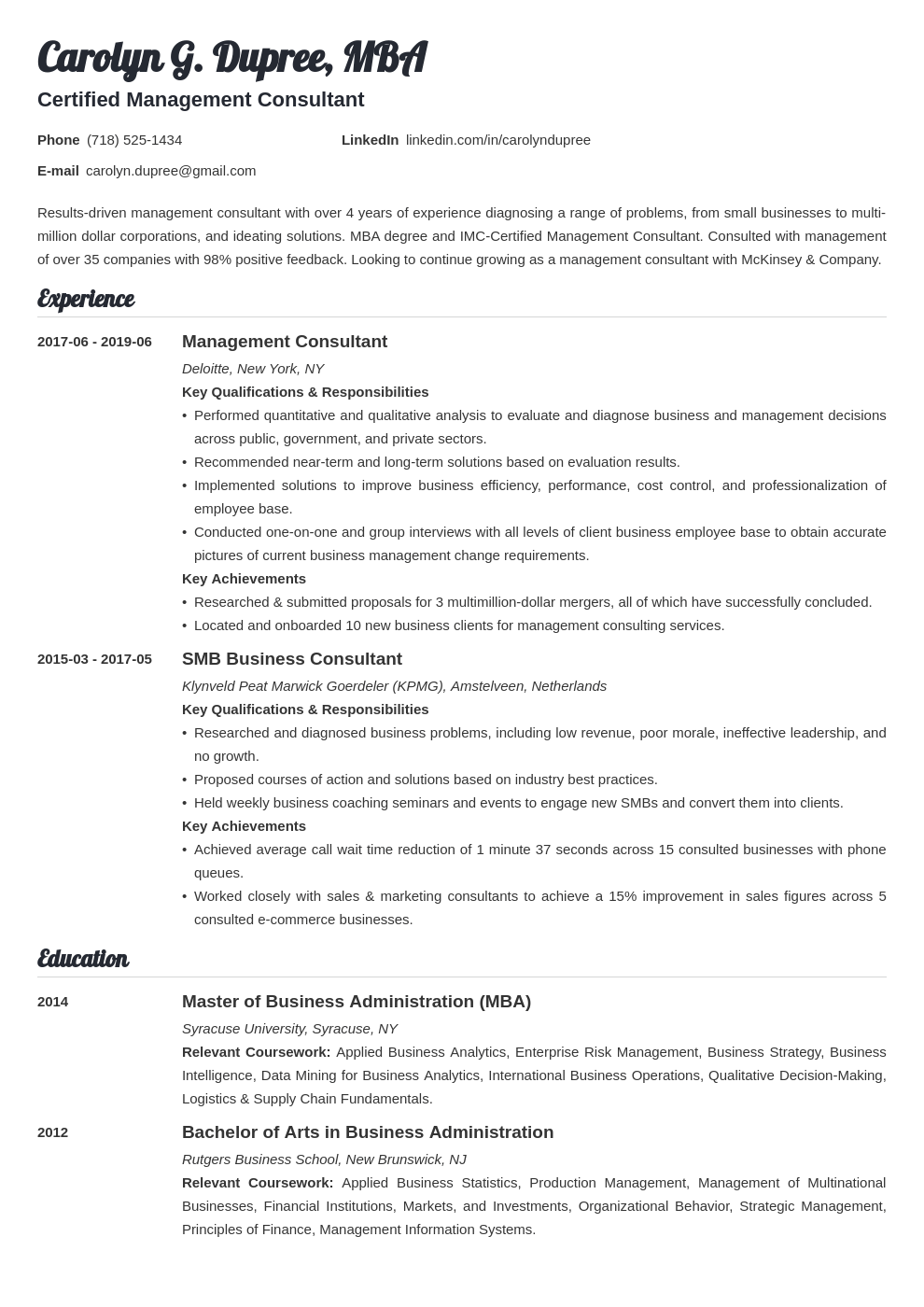 management consultant resume example template valera