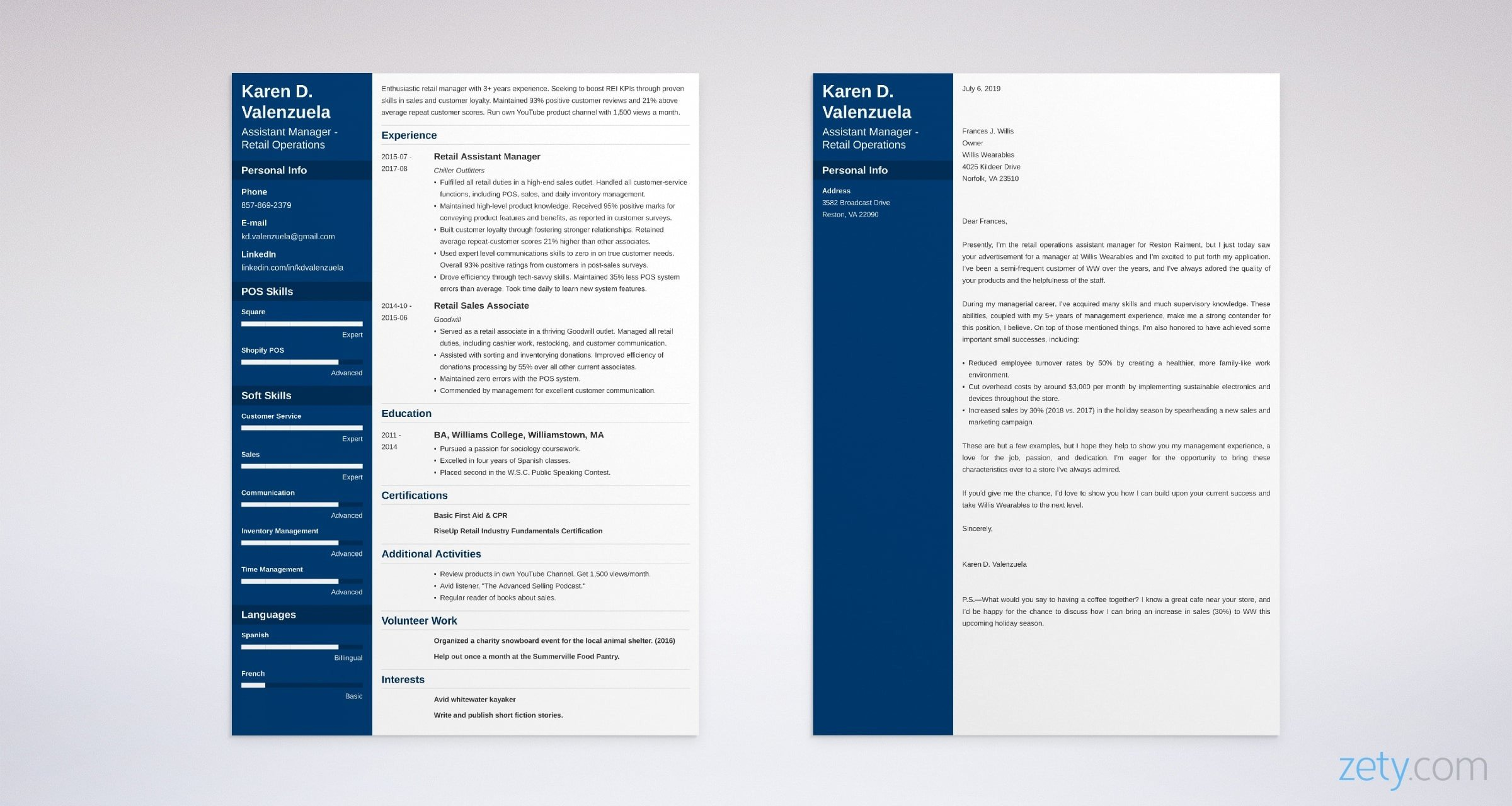manager resume and cover letter set