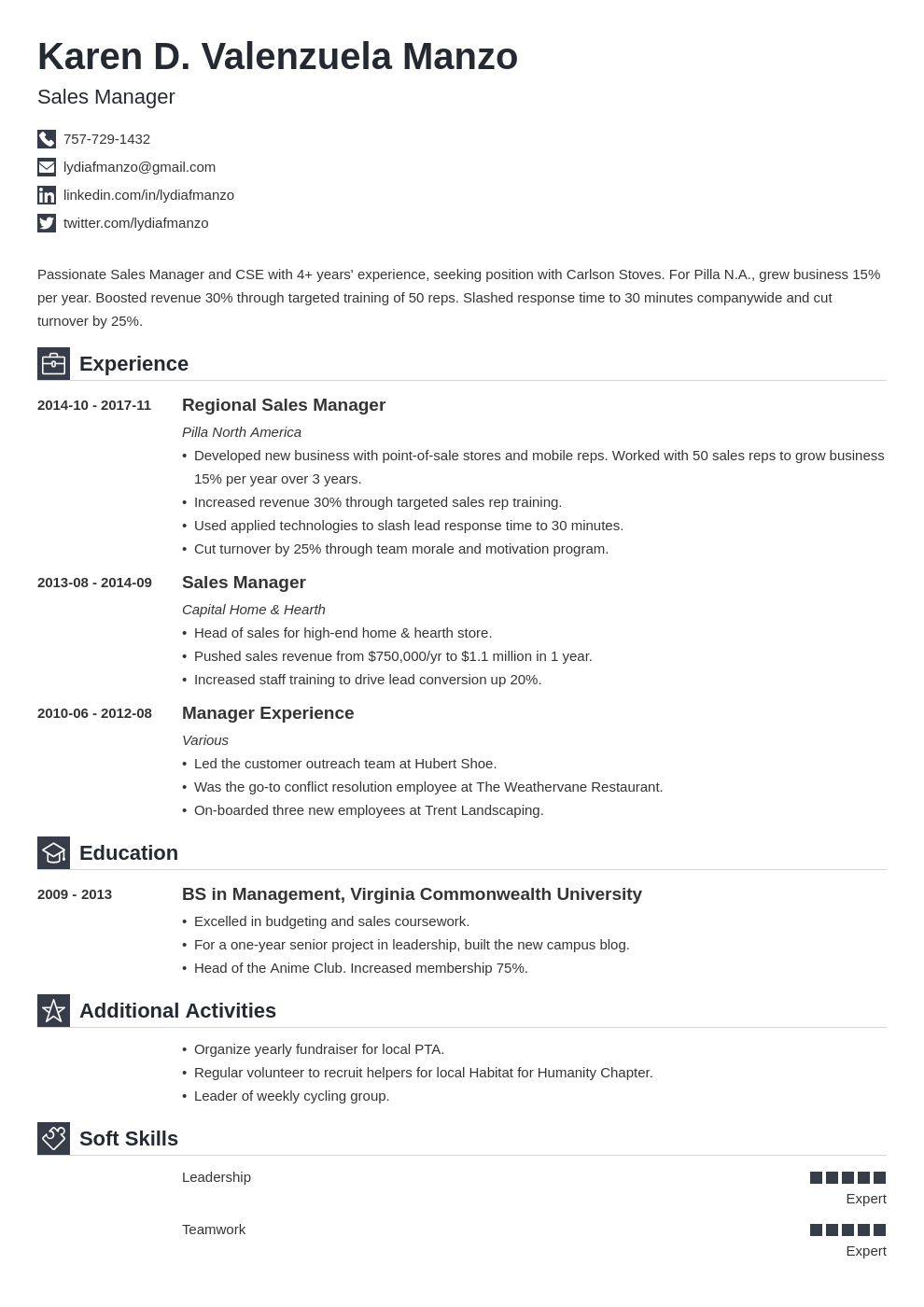 manager resume example template iconic