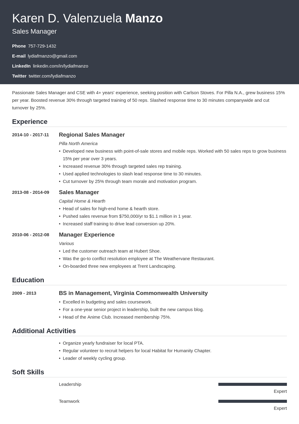 manager resume example template influx