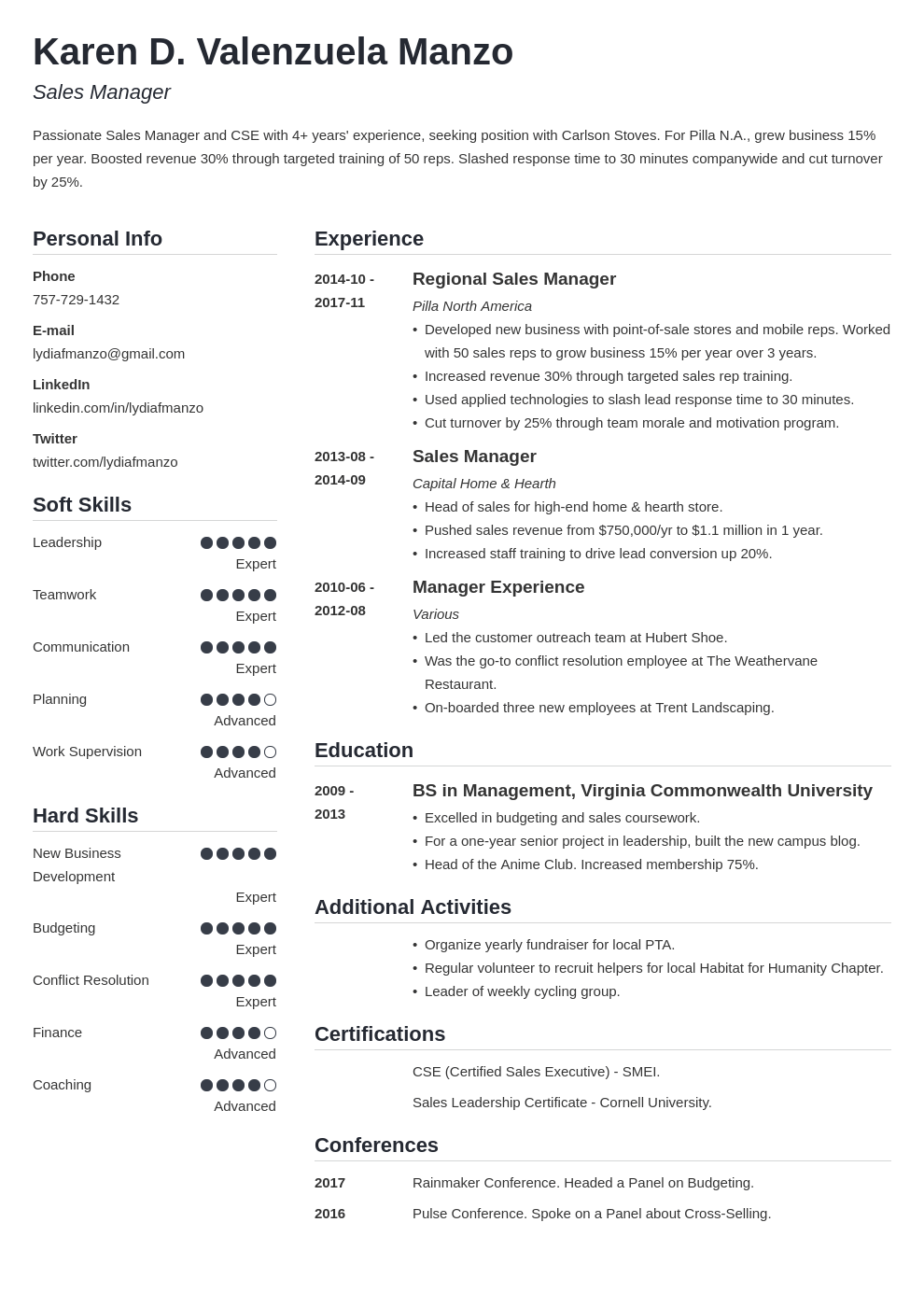manager resume example template simple