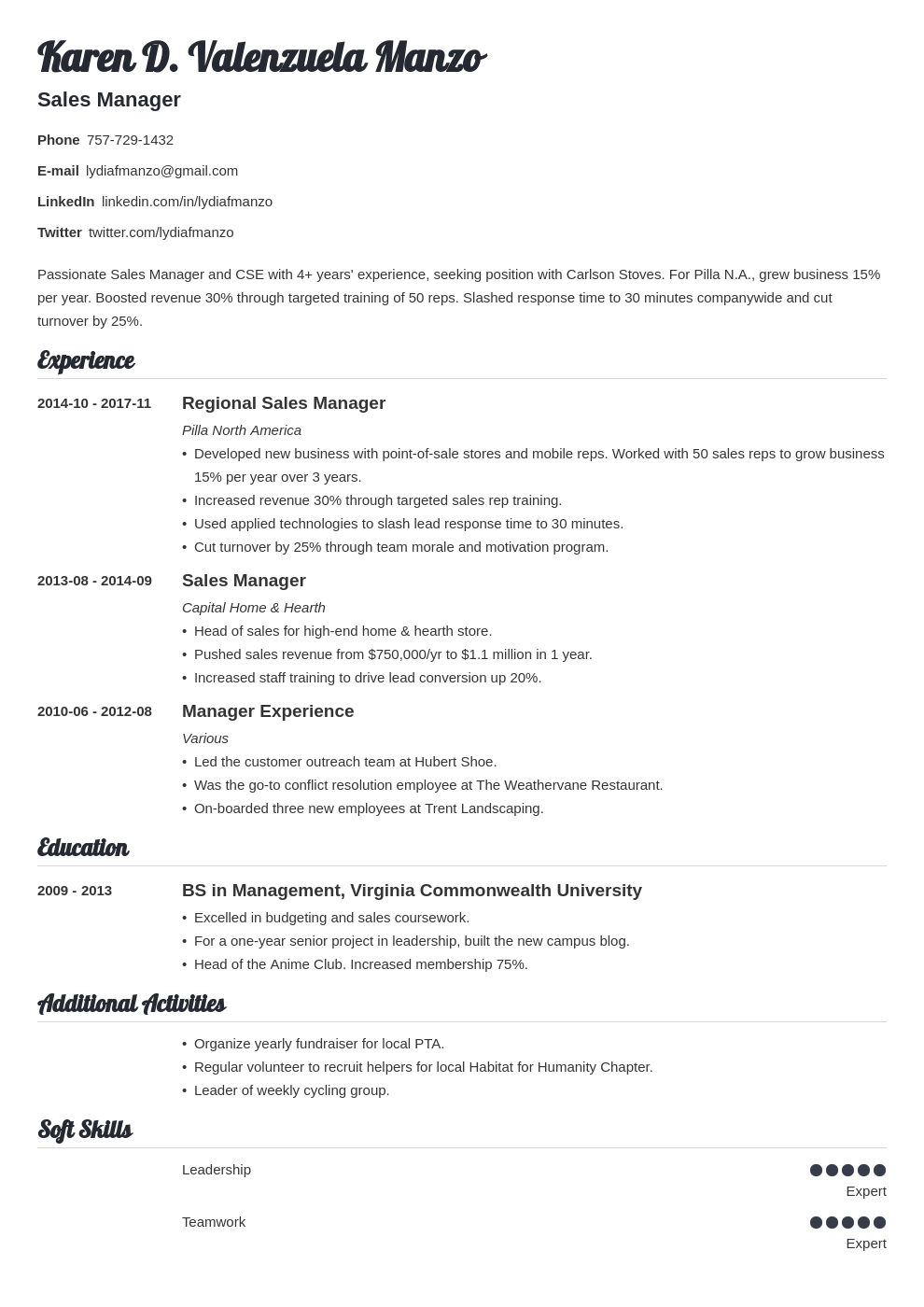 manager resume example template valera