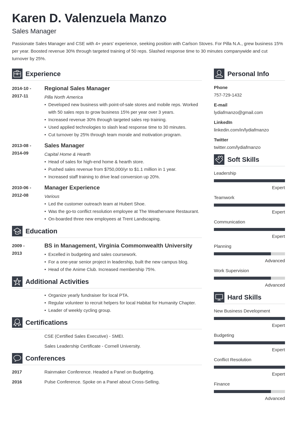 manager resume example template vibes