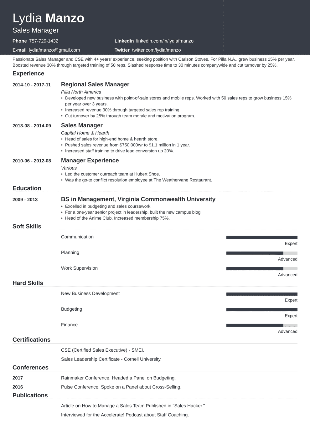 Manager Resume Template | Manager Resume Sample And Complete Guide 20 Examples