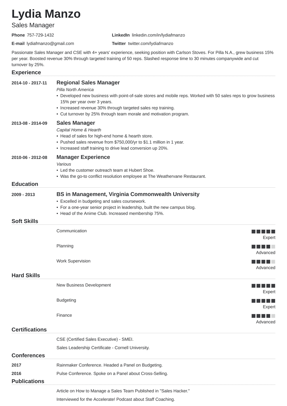 40 Management Resume Examples [Skills, Job Description]