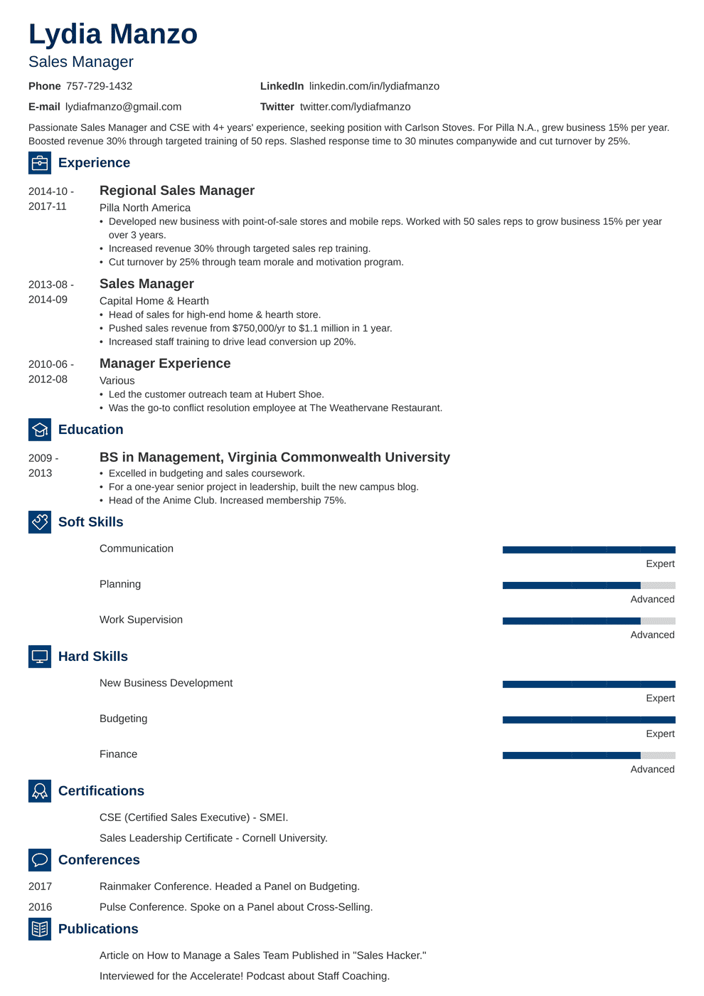 Manager Resume Sample And Complete Guide 20 Examples