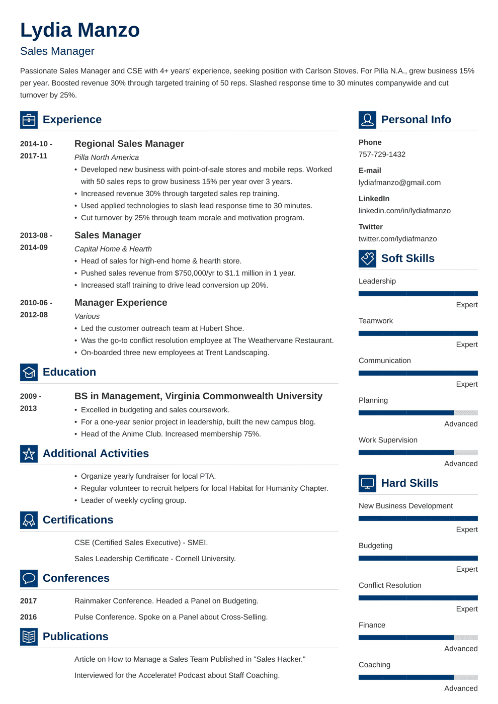resume for managerial position