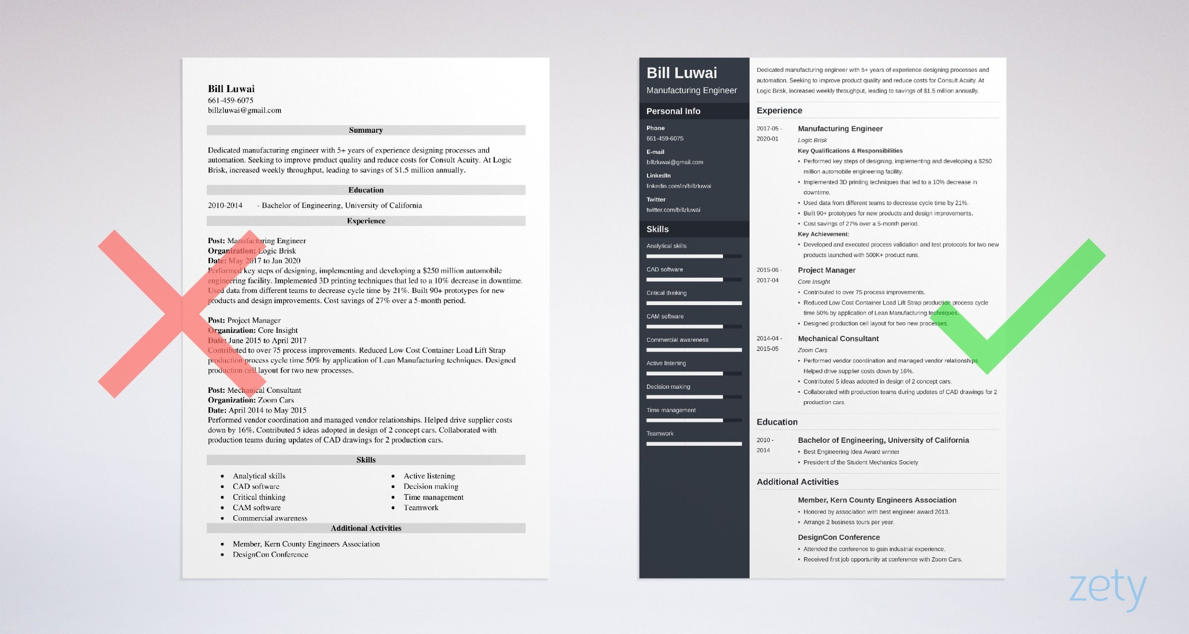 manufacturing engineer resume templates