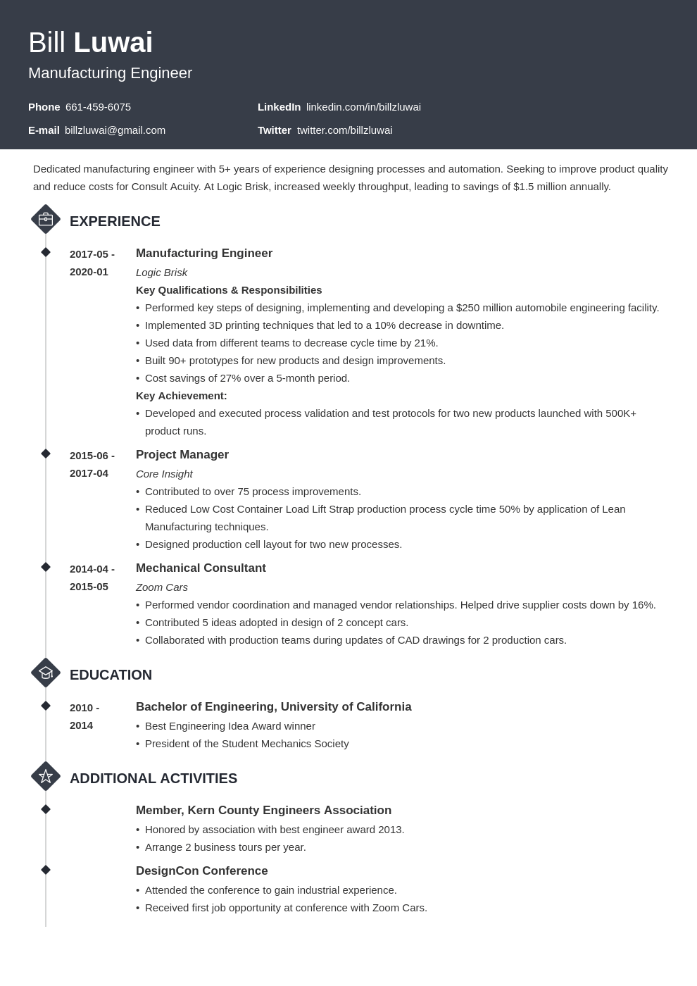 manufacturing engineer resume example template diamond