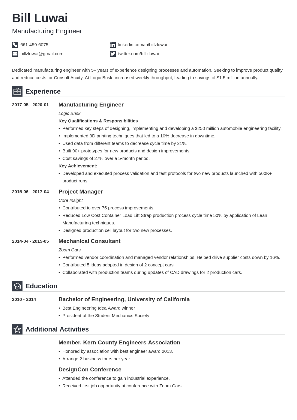 manufacturing engineer resume example template iconic