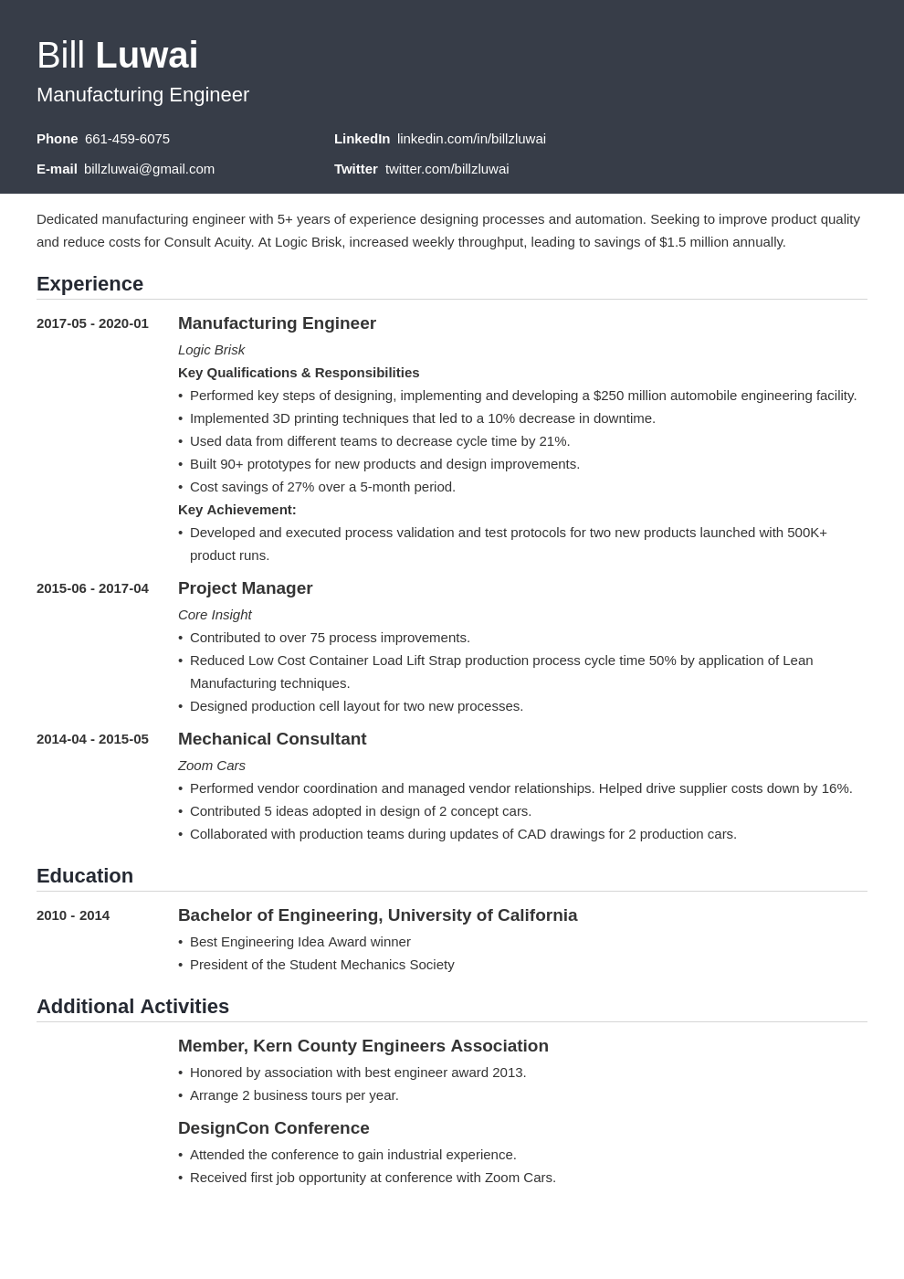 manufacturing engineer resume example template influx