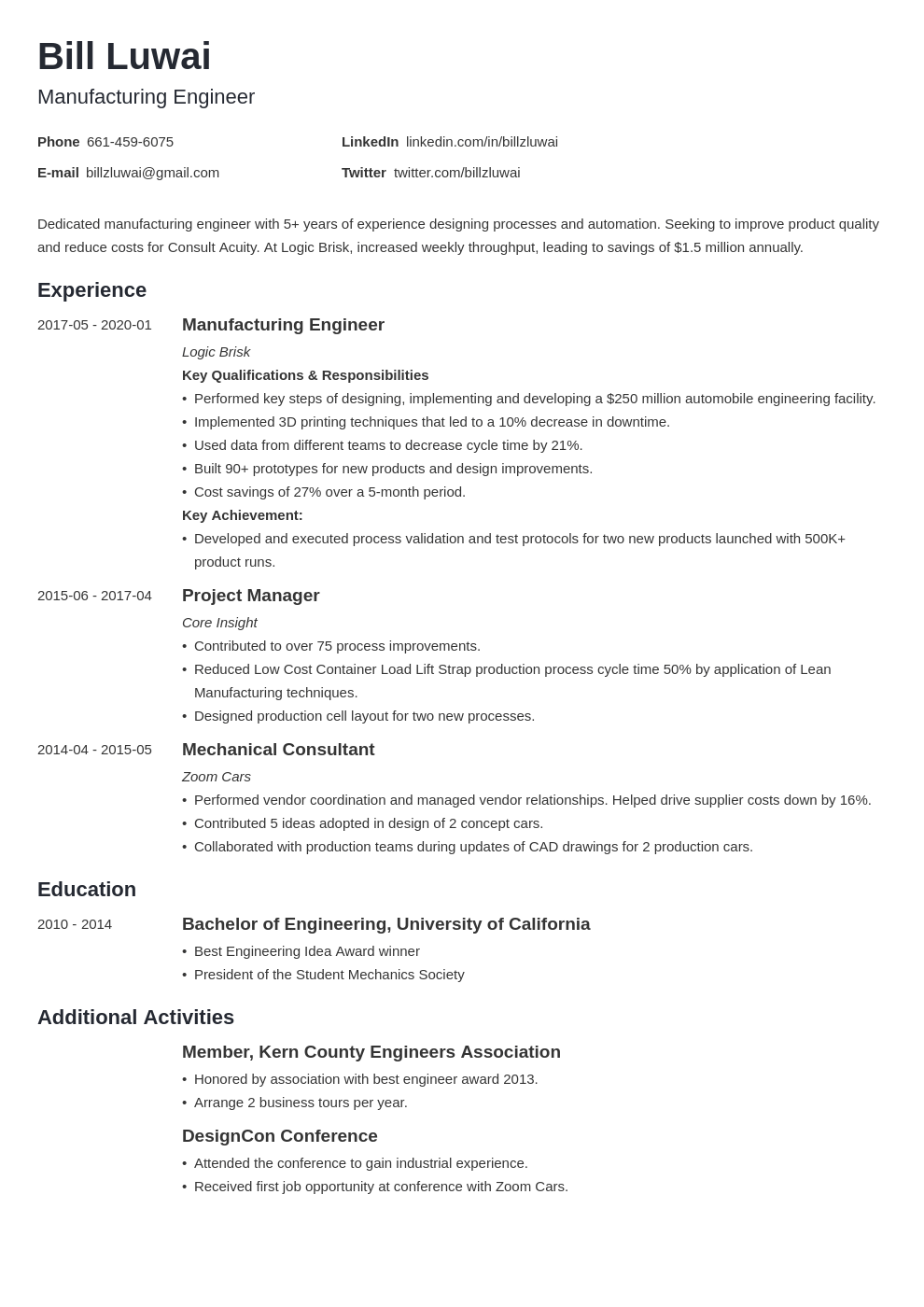 manufacturing engineer resume example template minimo