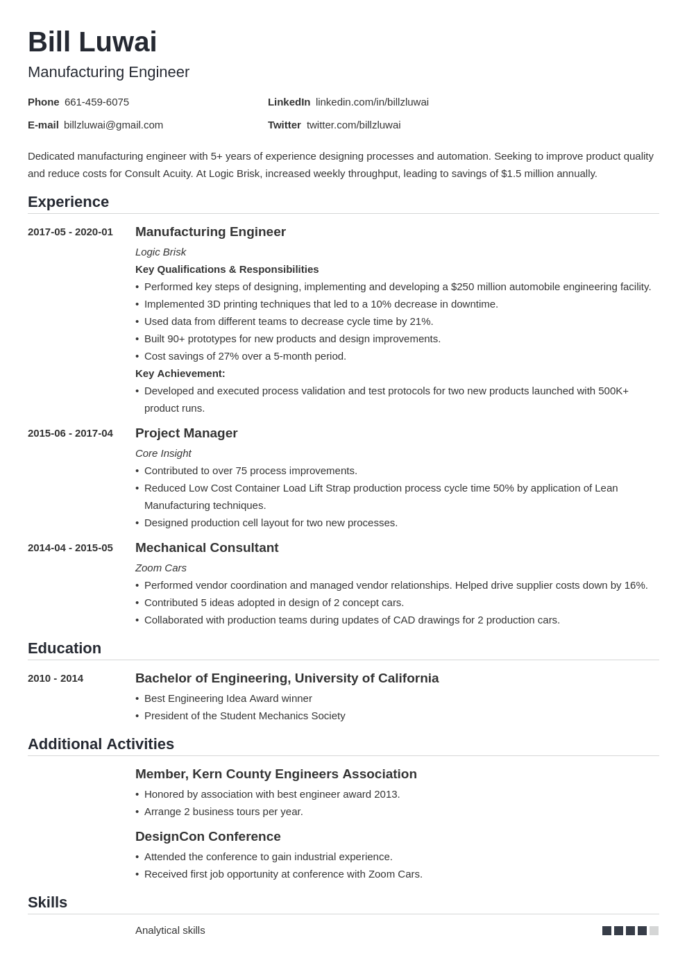 manufacturing engineer resume example template nanica