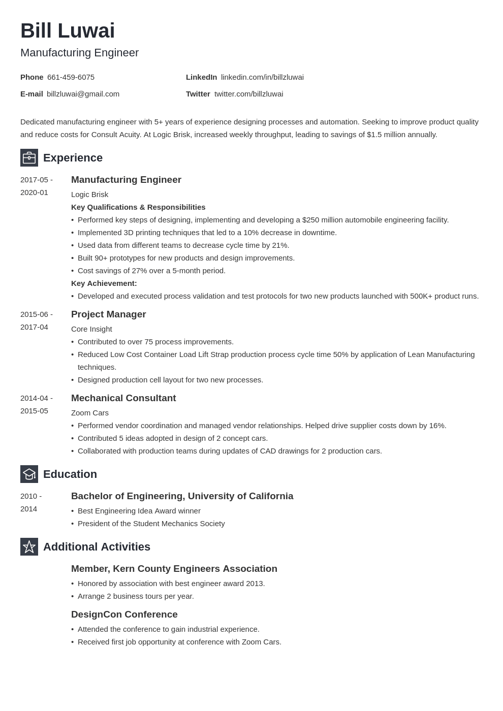 manufacturing engineer resume example template newcast