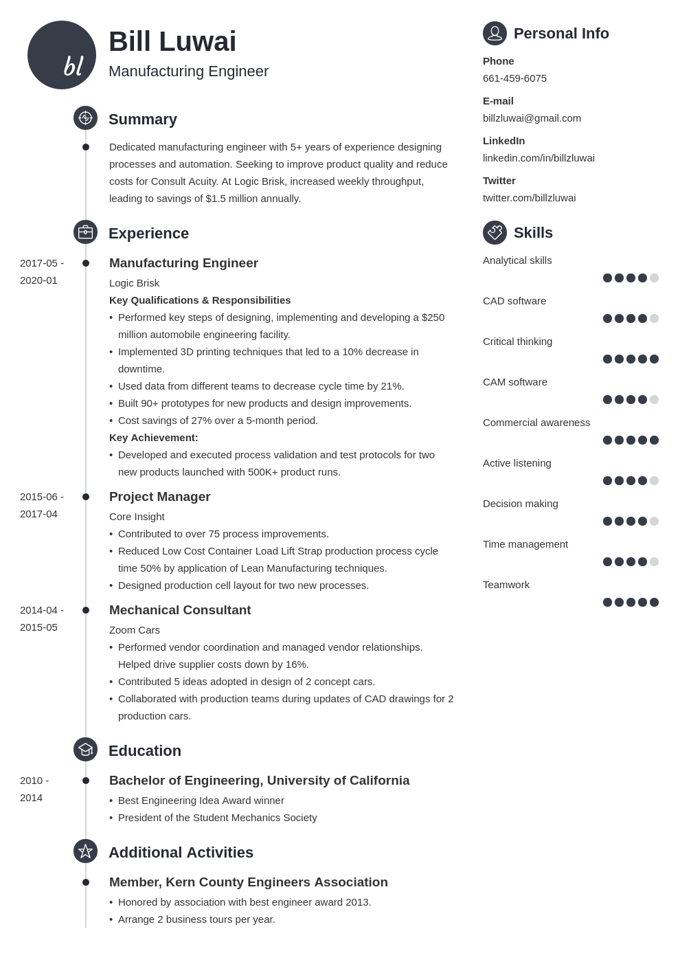 manufacturing engineer resume example template primo