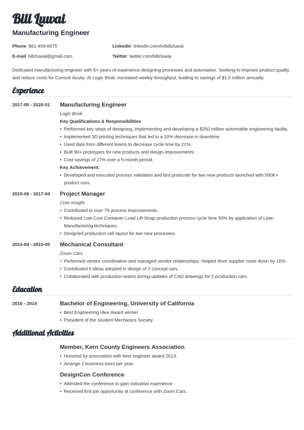 manufacturing engineer resume example template valera