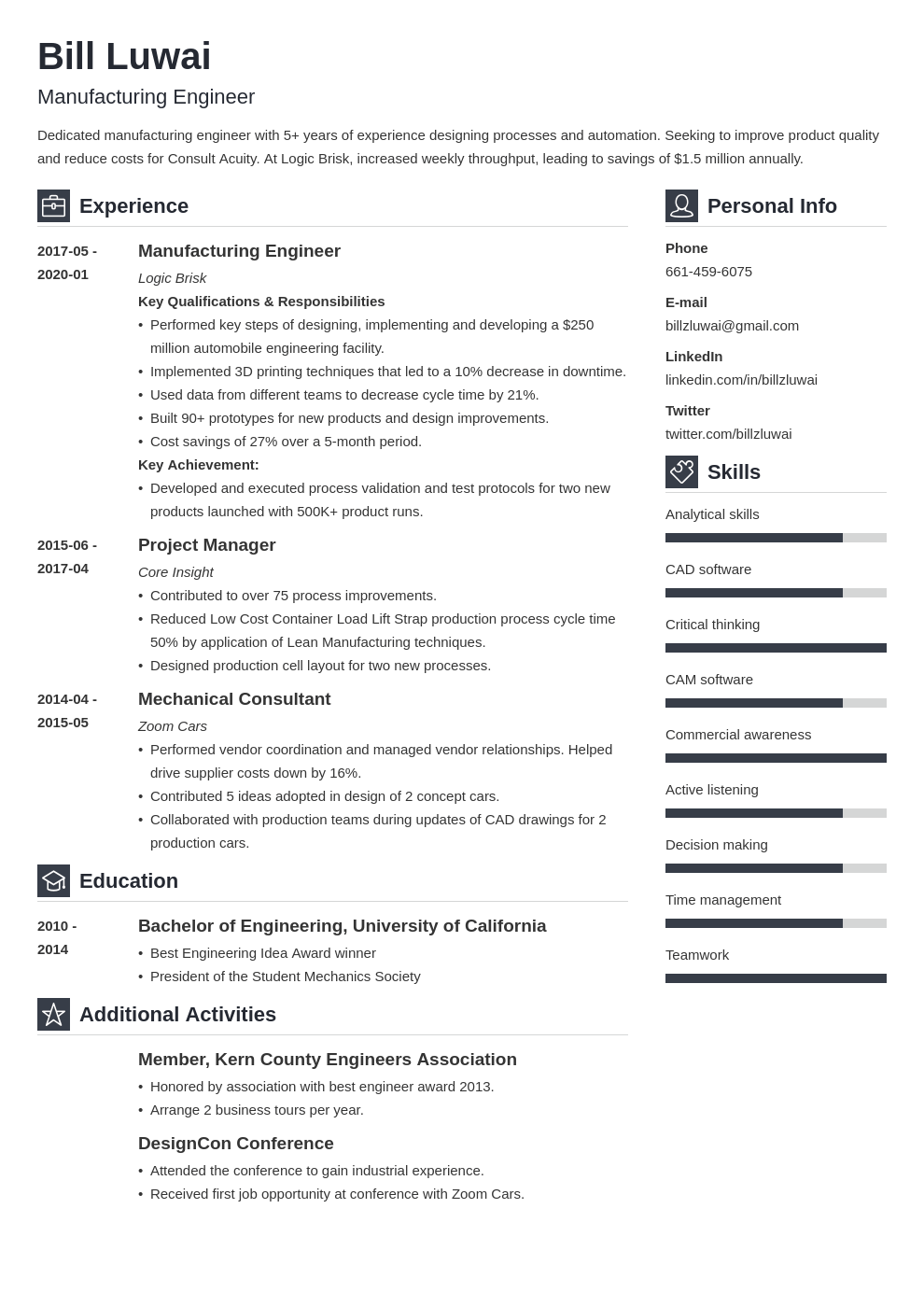 manufacturing engineer resume example template vibes
