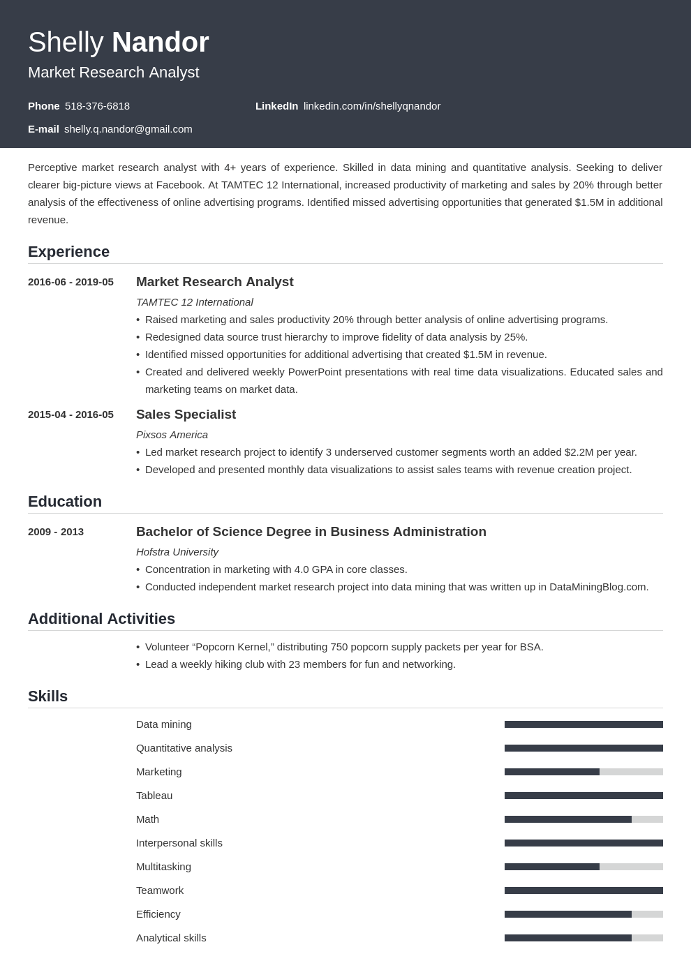 market research resume example template influx