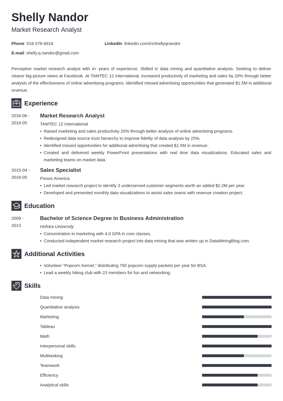 market research resume example template newcast