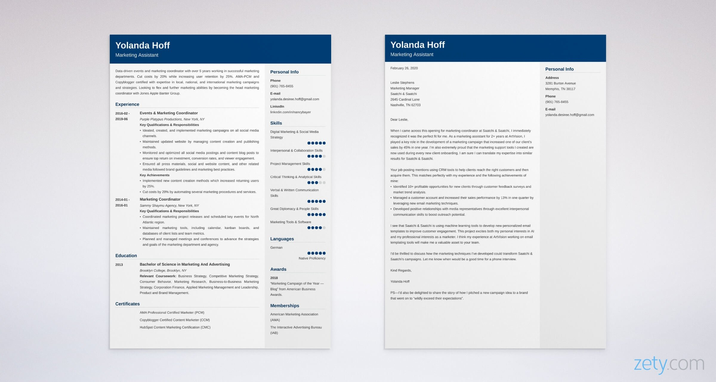 marketing coordinator resume and cover letter set