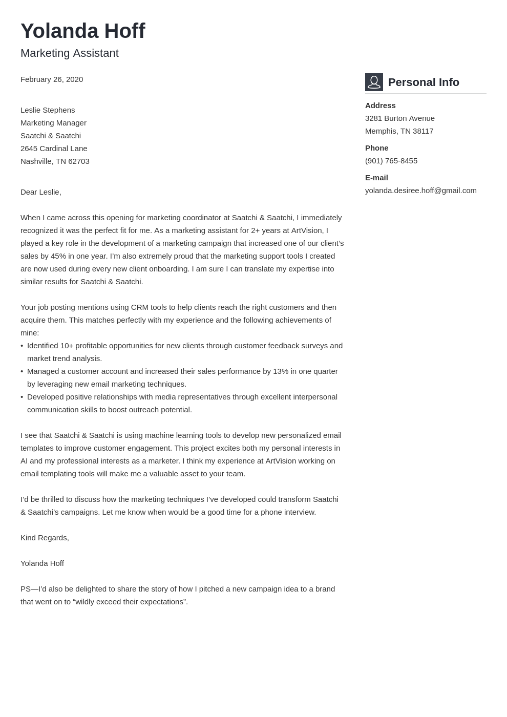 Marketing Coordinator Cover Letter Sample Writing Guide