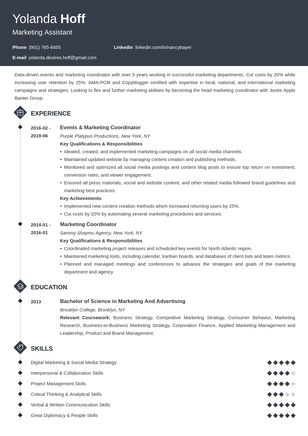 marketing coordinator resume example template diamond