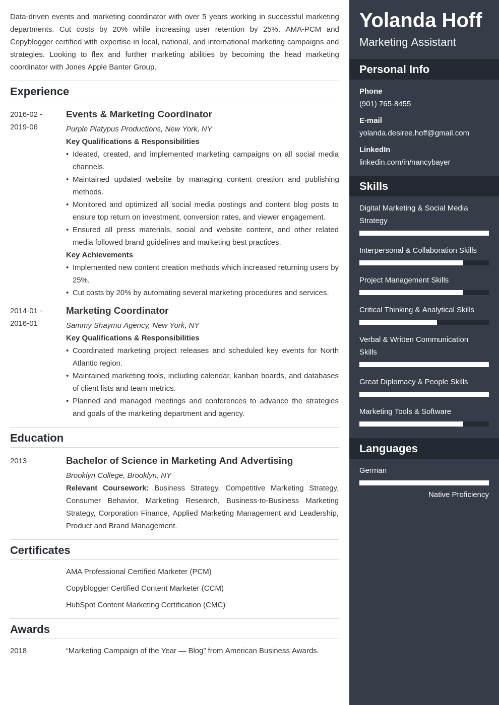 marketing coordinator resume example template enfold