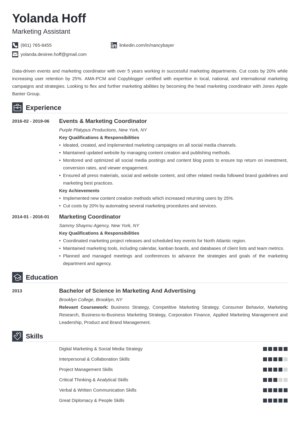 marketing coordinator resume example template iconic