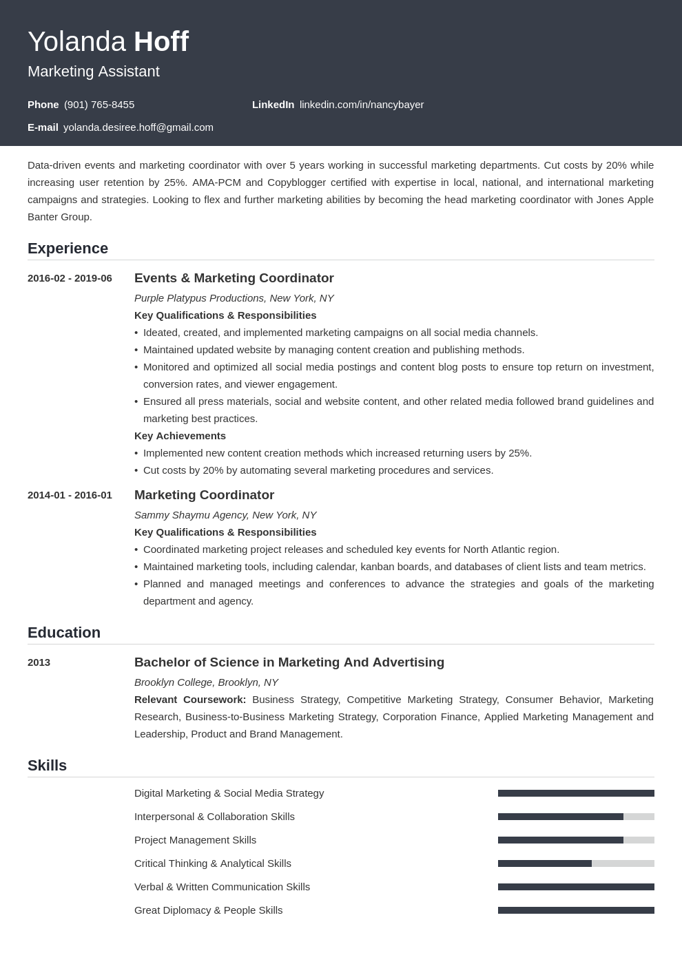 marketing coordinator resume example template influx