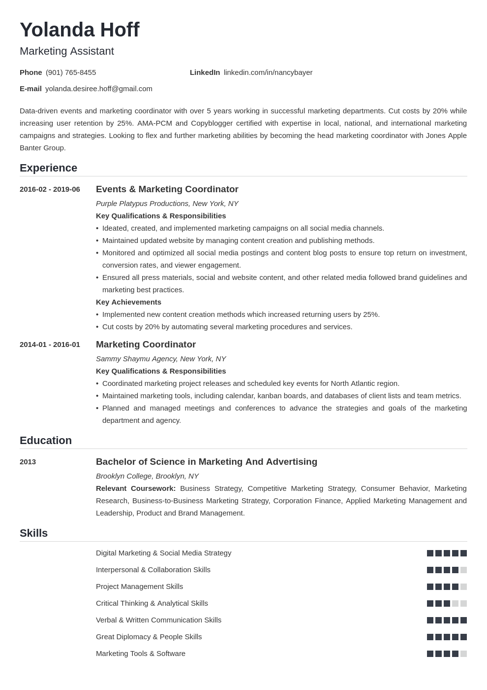 marketing coordinator resume example template nanica