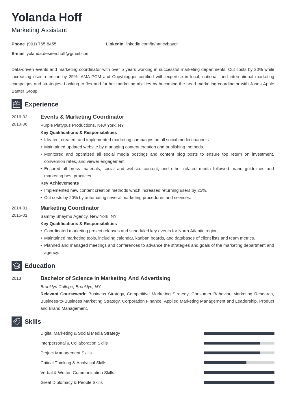 marketing coordinator resume example template newcast