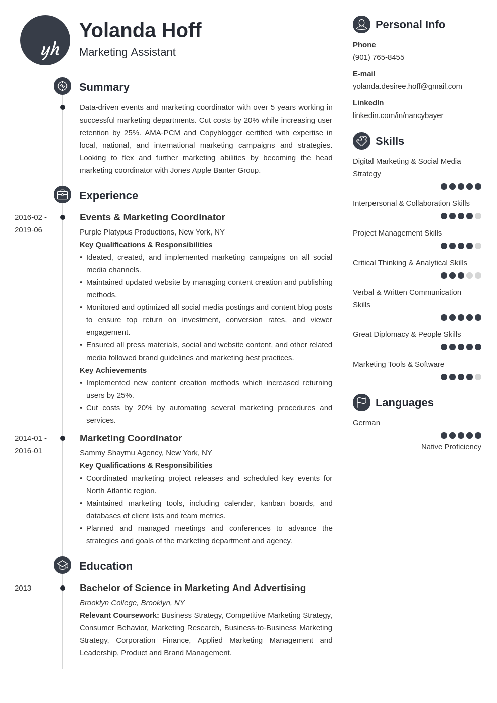 marketing coordinator resume example template primo