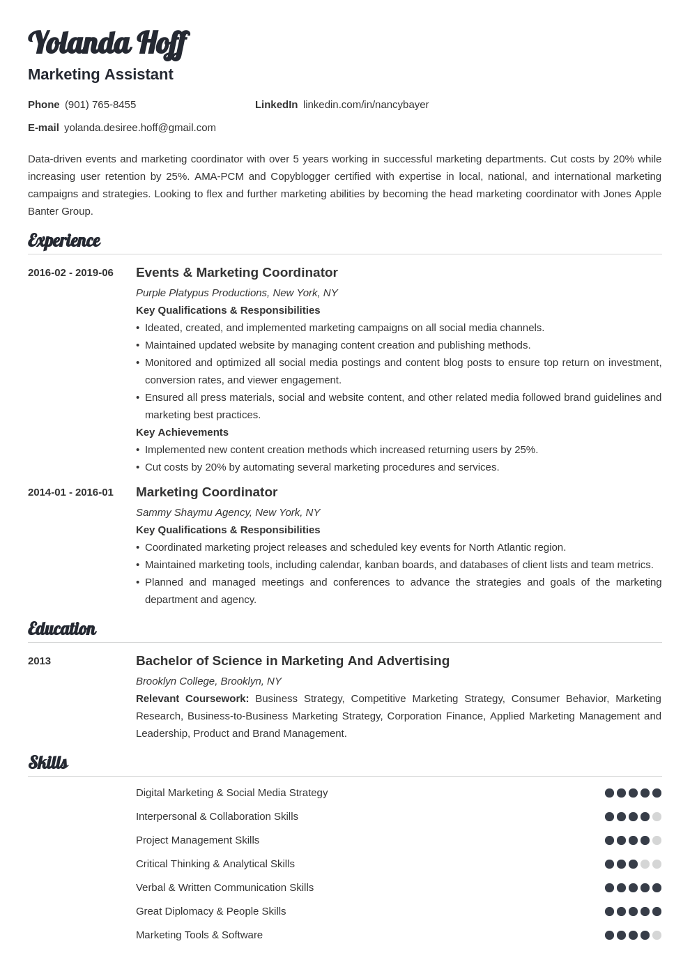 marketing coordinator resume example template valera