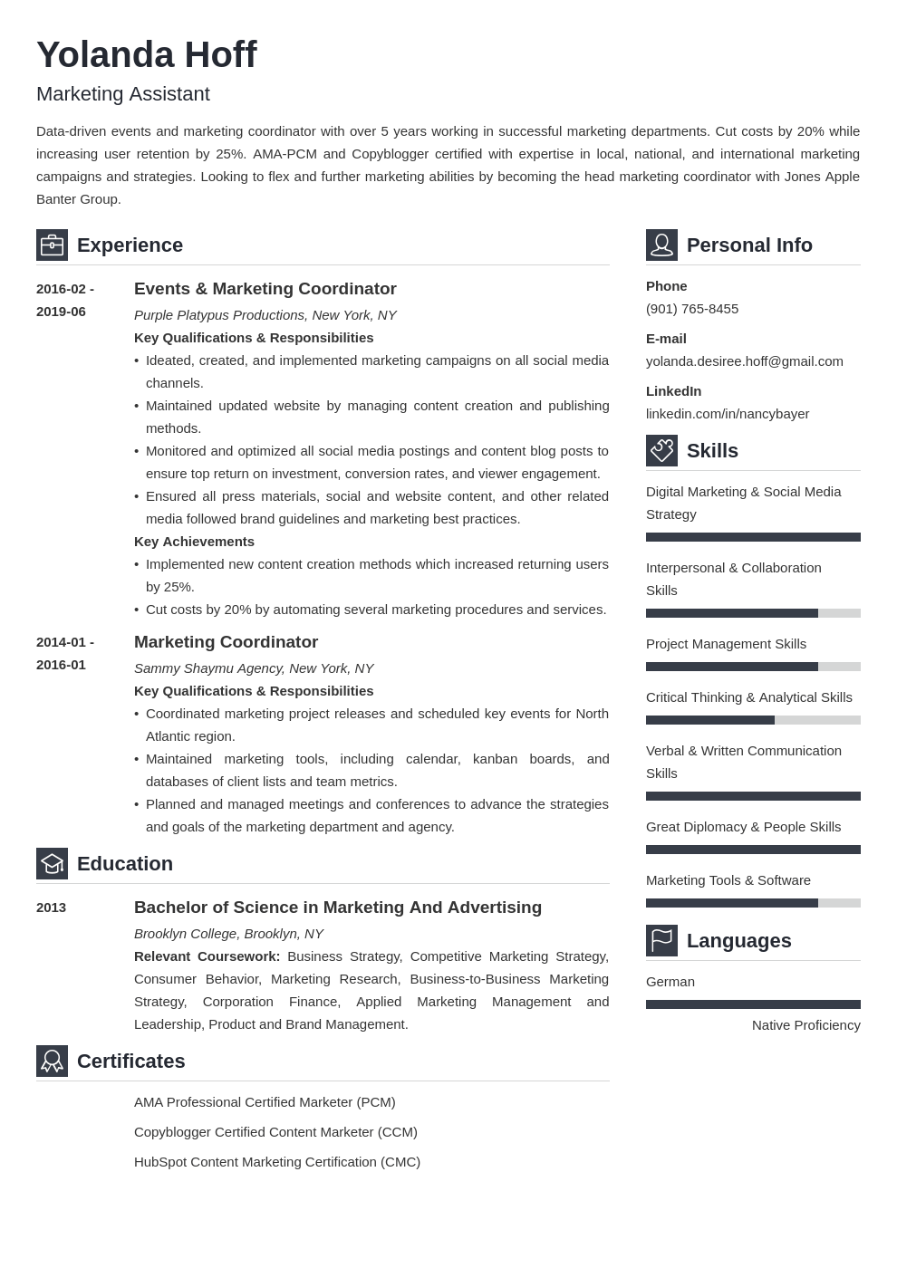 marketing coordinator resume example template vibes