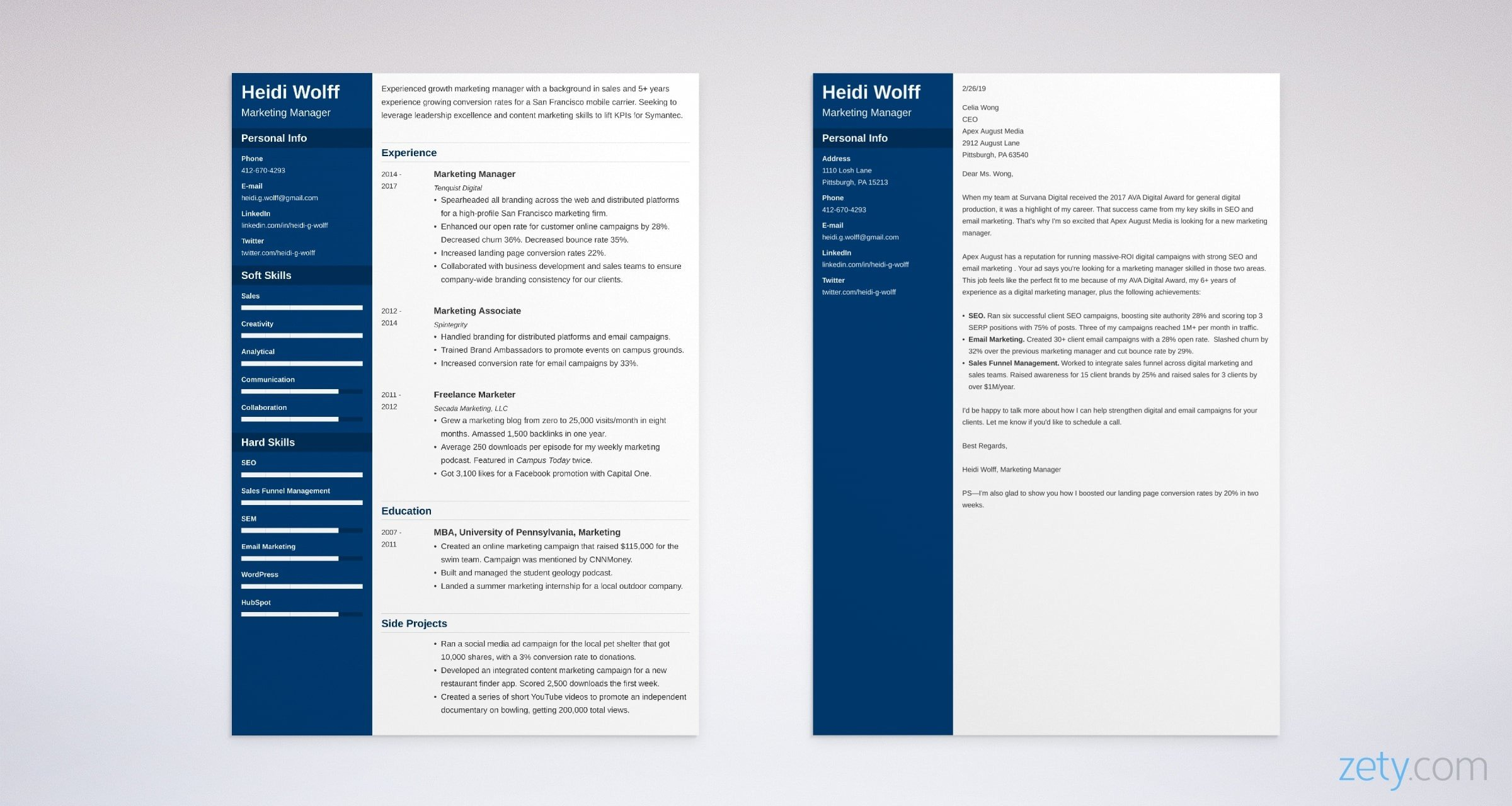 marketing resume and cover letter set