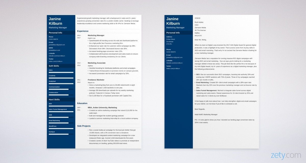 marketing CV and cover letter set