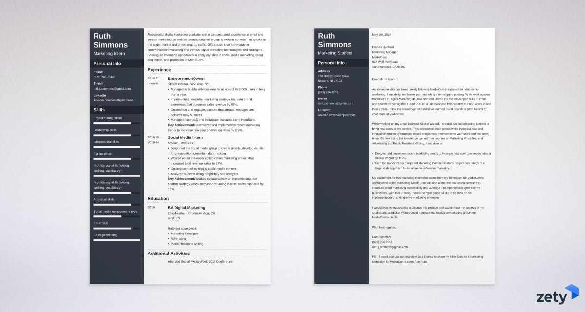 marketing intern resume and cover letter set