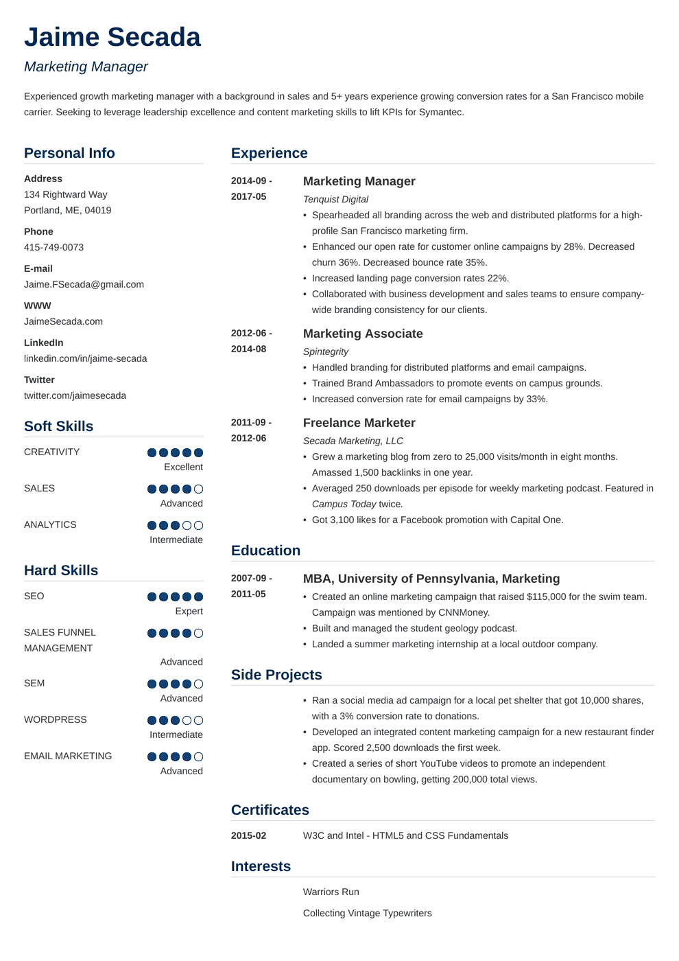 Marketing Manager Resume: Sample & Writing Guide (20+ Examples)