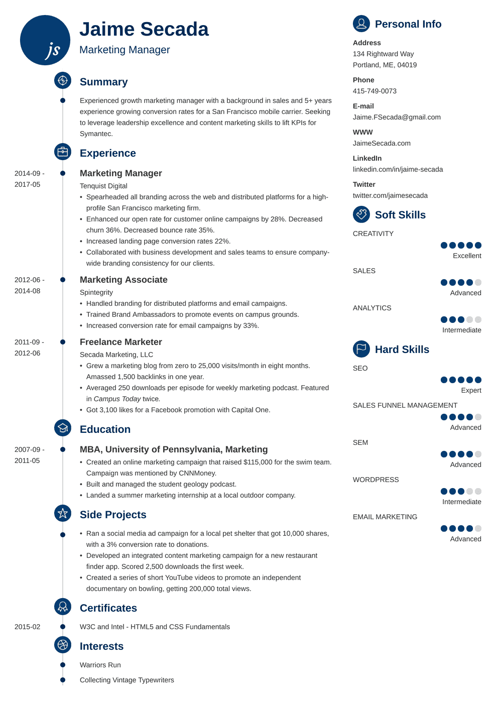 Marketing Manager Resume Sample Writing Guide 20 Examples