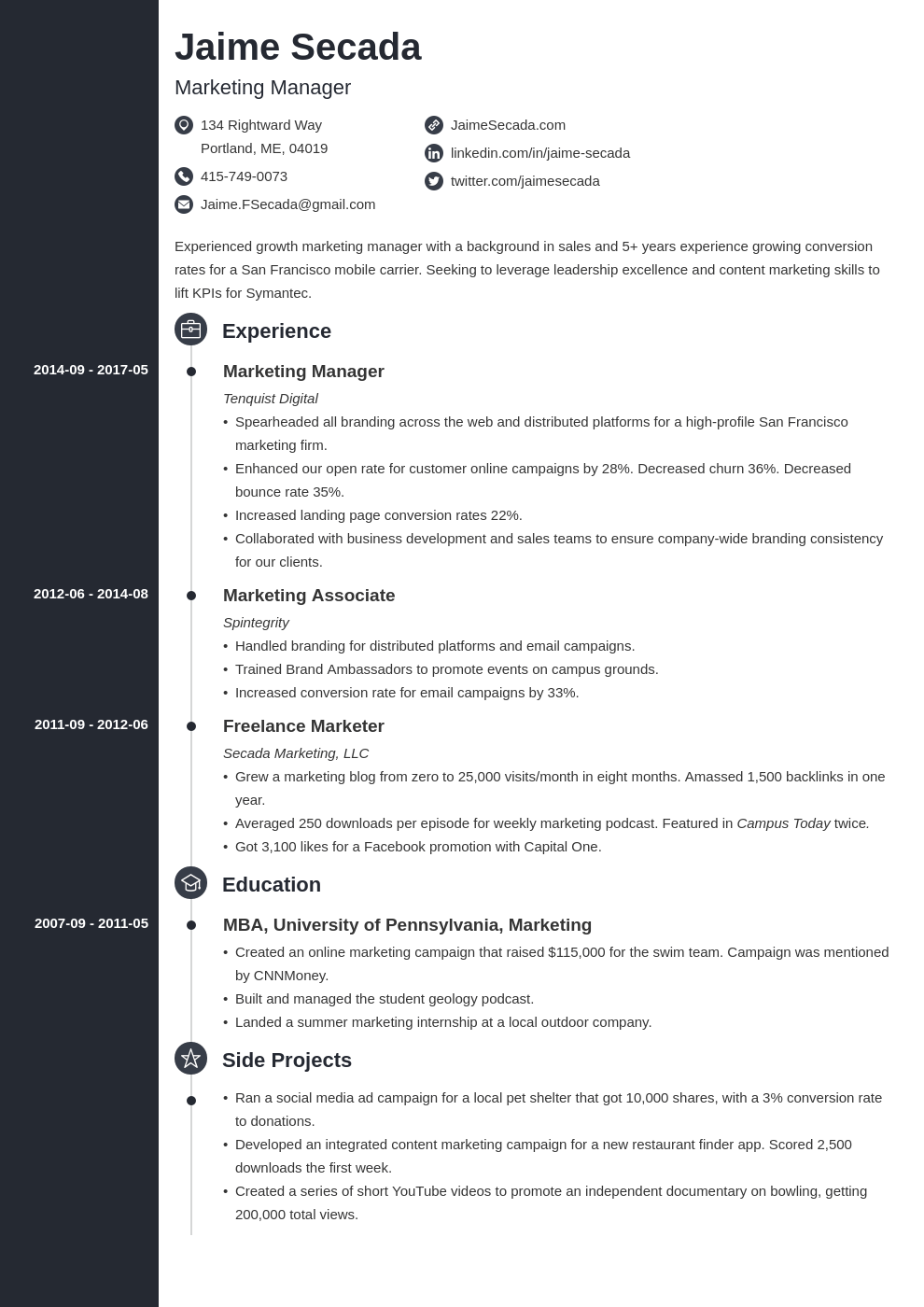 marketing manager resume example template concept