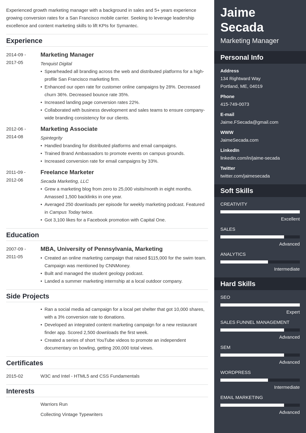 marketing manager resume example template enfold