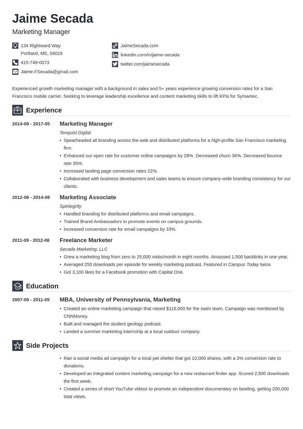 marketing manager resume example template iconic