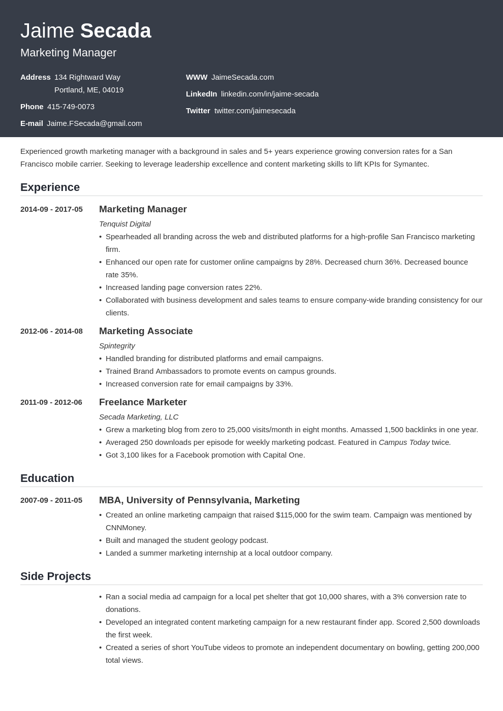marketing manager resume example template influx
