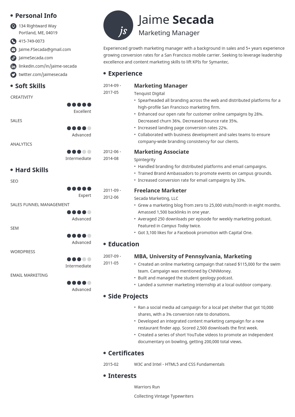 marketing manager resume example template initials
