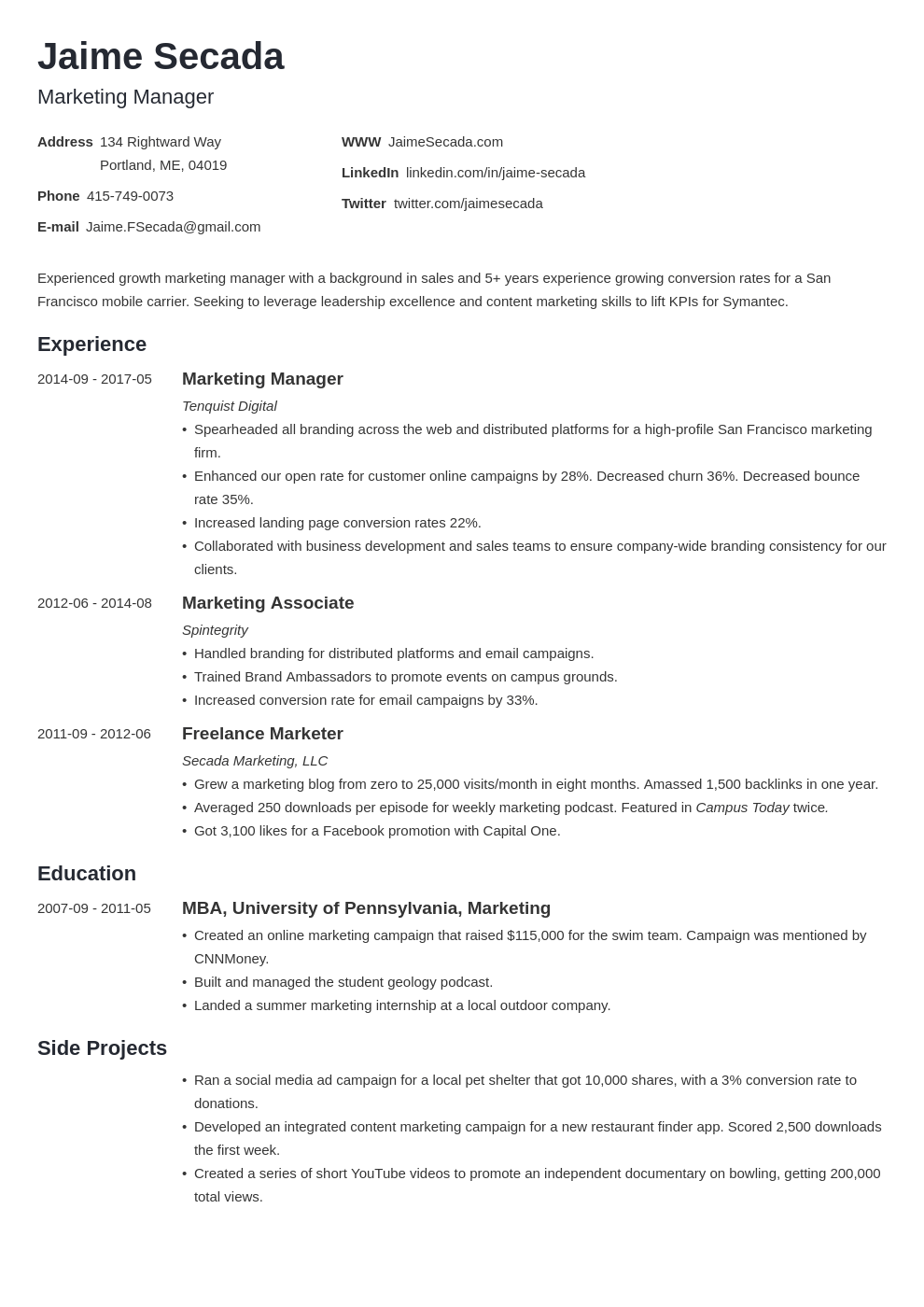 marketing manager resume example template minimo