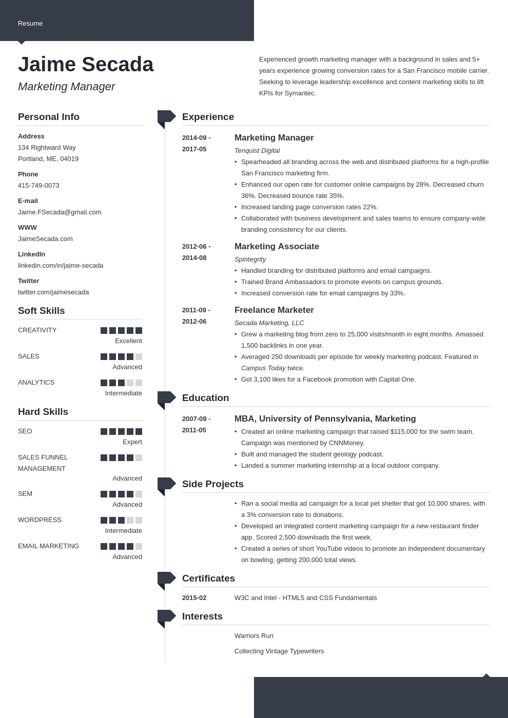 marketing manager resume example template modern
