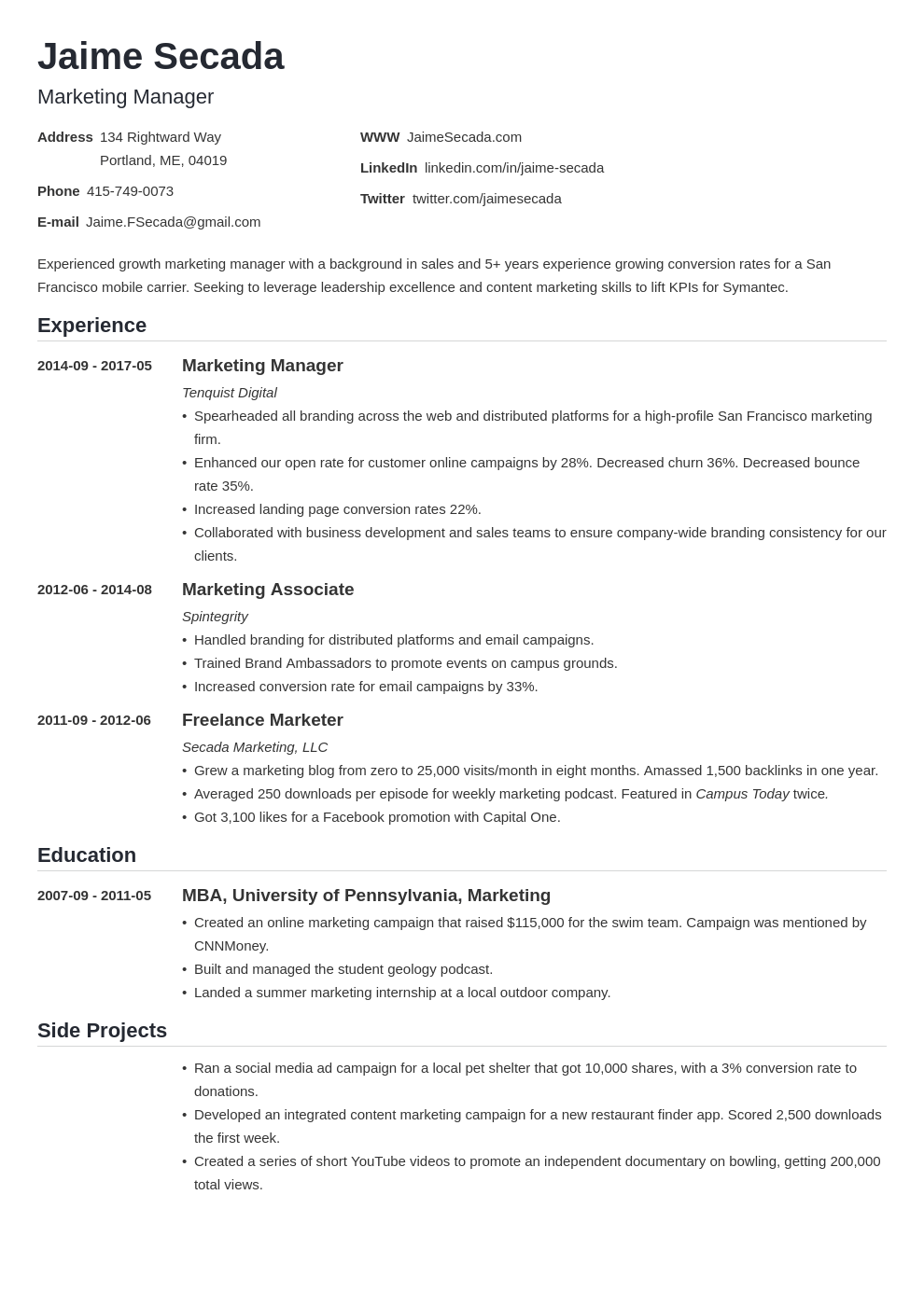 Marketing Manager Resume Examples Template Guide