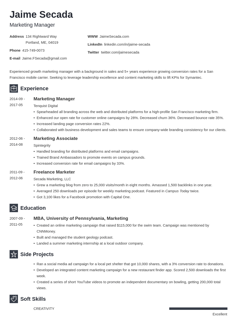 marketing manager resume example template newcast