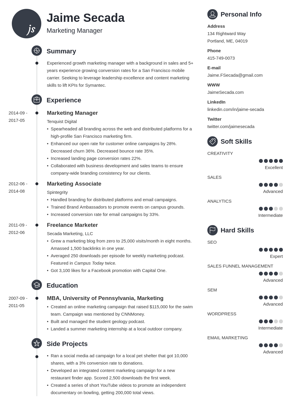 marketing manager resume example template primo
