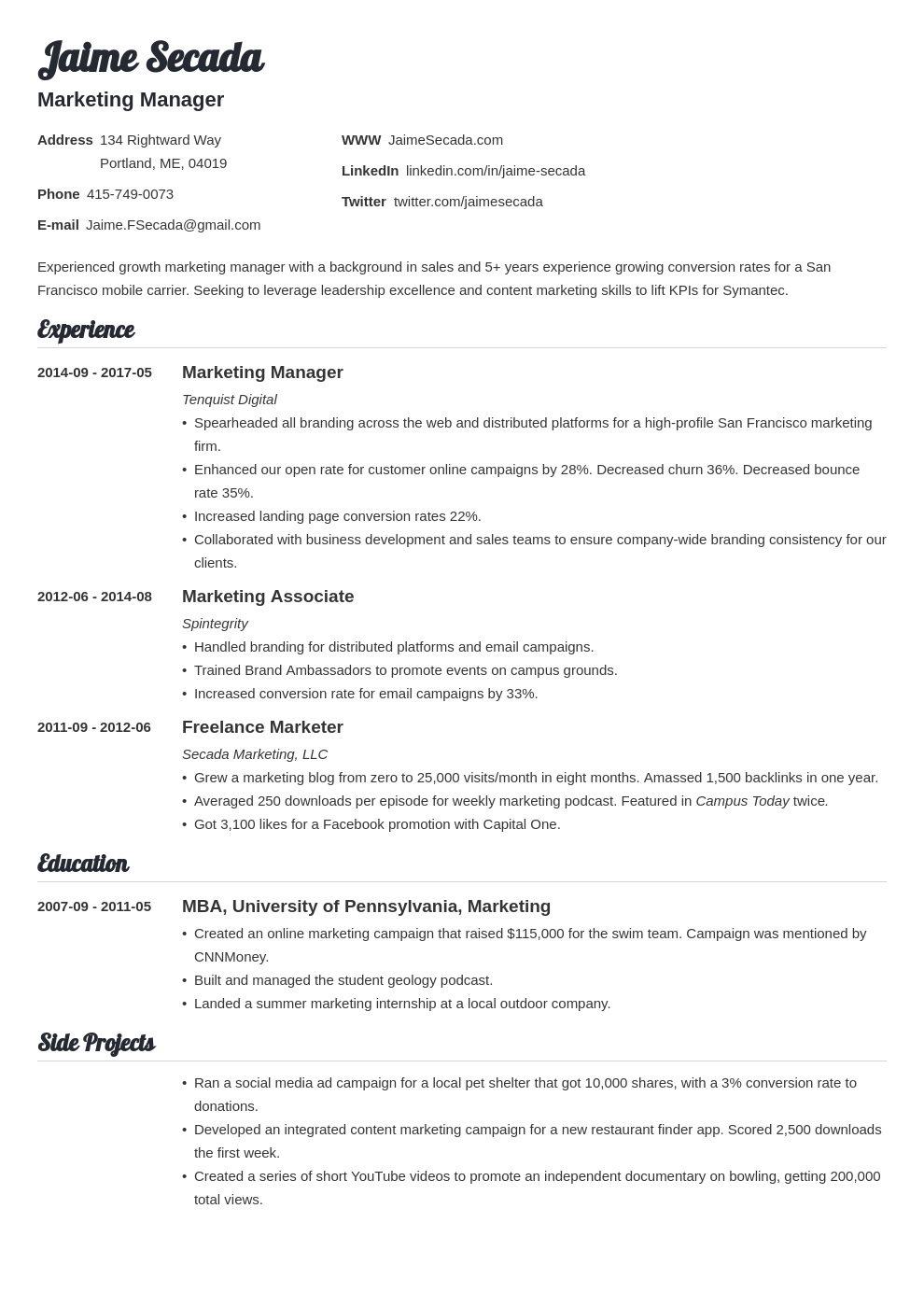 marketing manager resume example template valera